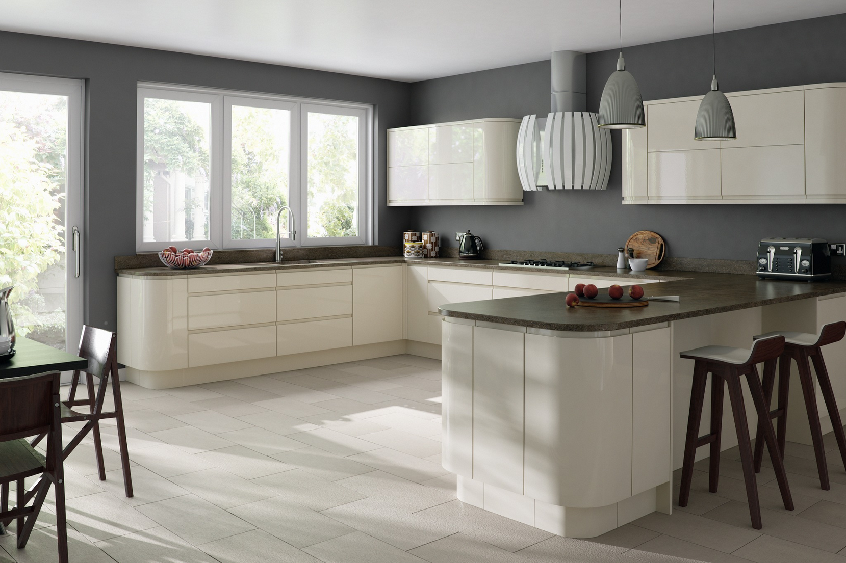Gemini Cream Gloss Handleless Kitchen