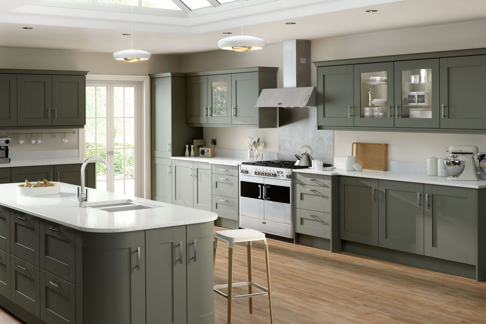 Home Kitchens Trade Mouldings Gresham Olive Shaker Kitchen