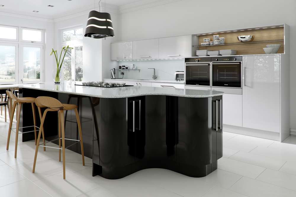 haddington black white gloss kitchen On black gloss kitchen cabinets