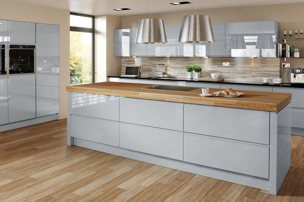 Welford grey handleless proline kitchen cabinets lancashire Handleless kitchen drawers design