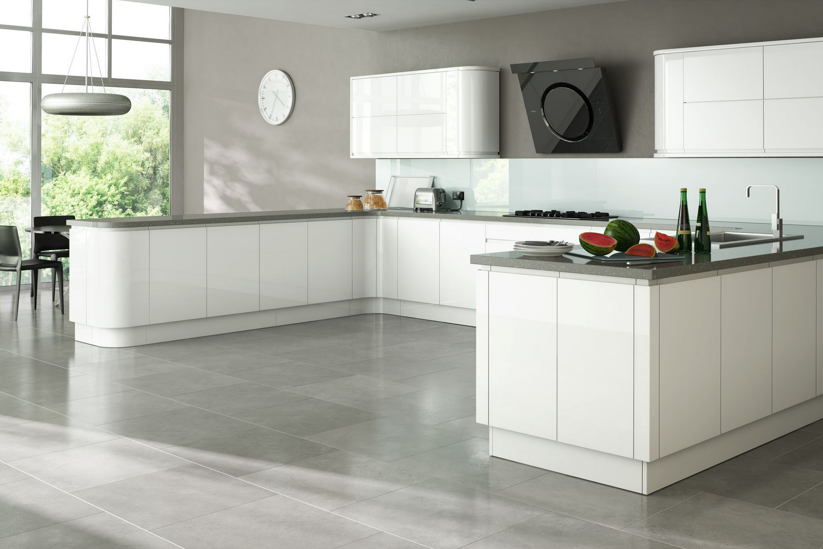 Larissa white gloss handleless kitchen proline cabinets for Kitchen ideas high gloss