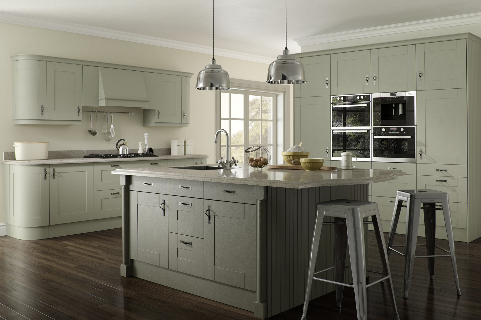Malham sage olive shaker kitchen proline cabinets ltd for Shaker kitchen cabinets