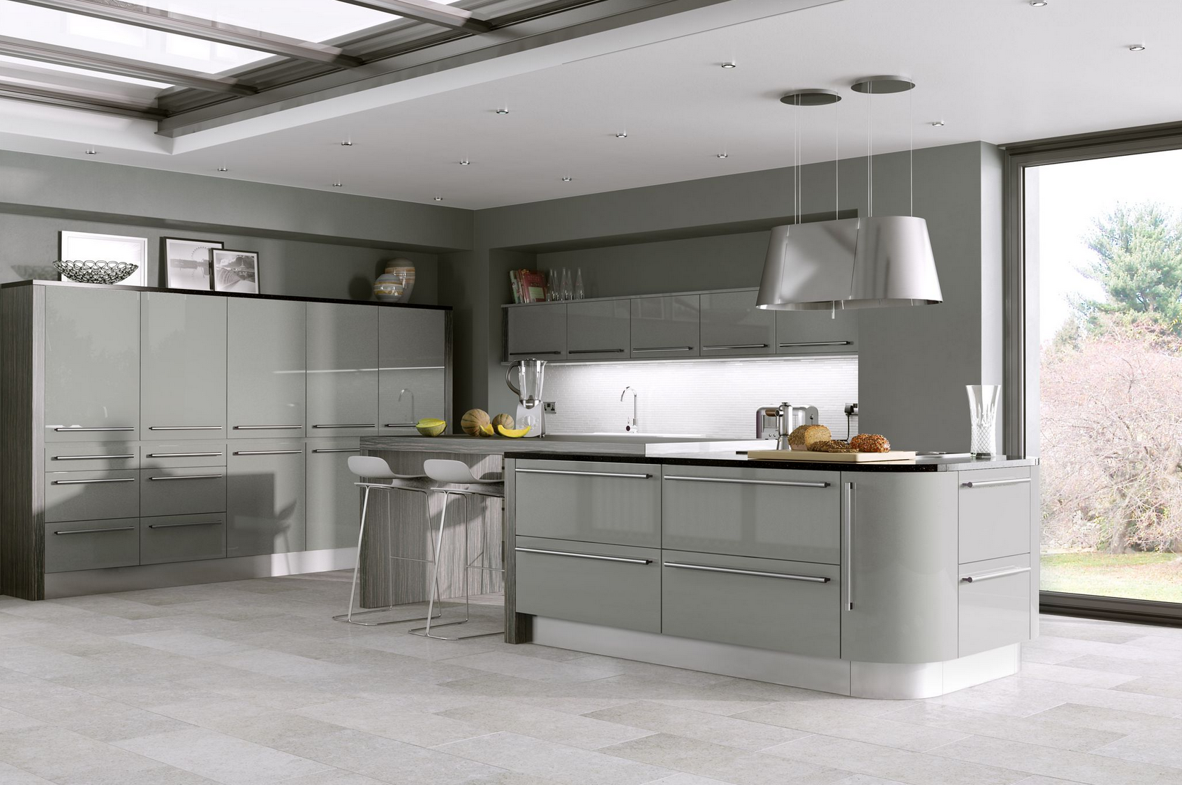 Odyssey stone grey gloss kitchen proline cabinets ltd for Kitchen units