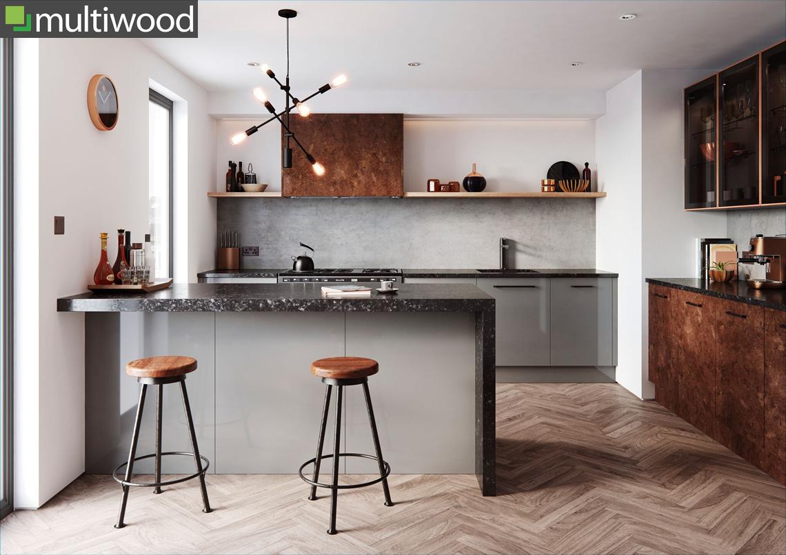 Multiwood Cosdon – Gloss Mid Grey & Rust Kitchen