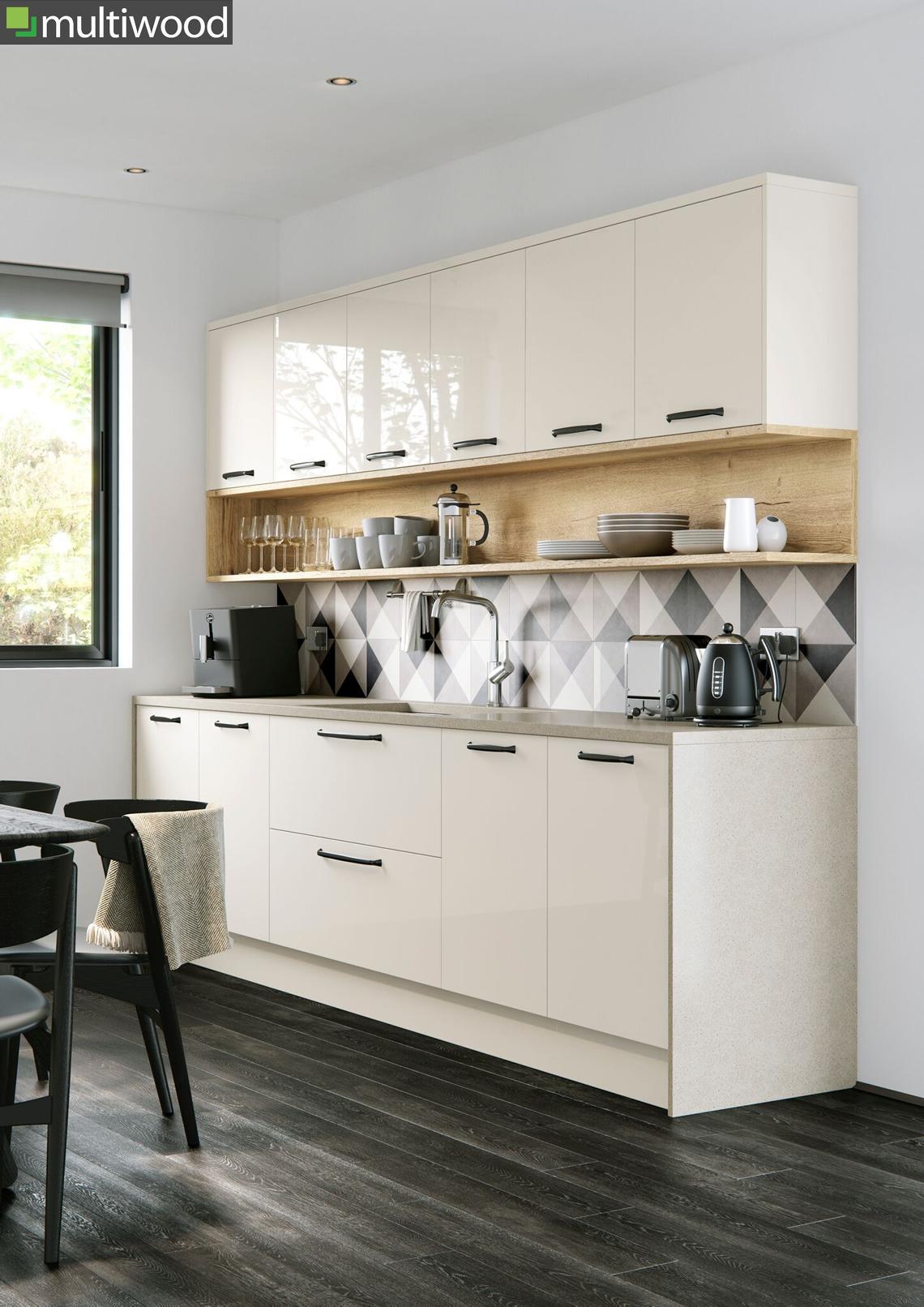 Multiwood Cosdon – Gloss Porcelain & Halifax Oak Kitchen