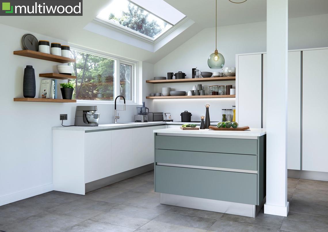 Multiwood Cosdon – Matt White & Winter Teal Kitchen