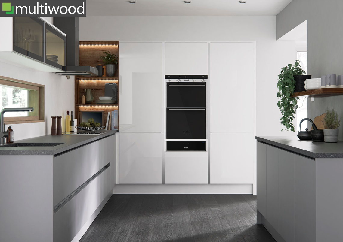 Multiwood Halton White Gloss and Grey Matt Kitchen