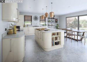 Trademouldings Lumi Alabaster Gloss Kitchen