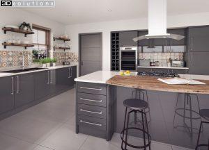 Trademouldings Lumi Grey Gloss Kitchen